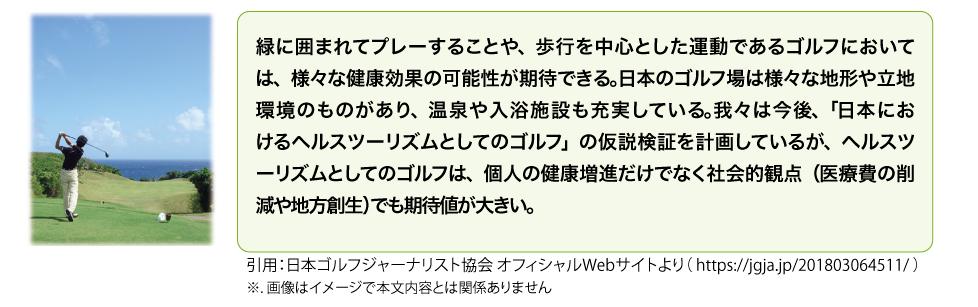 緑に囲まれてプレーすることや、歩行を中心とした運動であるゴルフにおいて は、様々な健康効果の可能性が期待できる。日本のゴルフ場は様々な地形や立地 環境のものがあり、温泉や入浴施設も充実している。我々は今後、「日本にお けるヘルスツーリズムとしてのゴルフ」の仮説検証を計画しているが、ヘルスツ ーリズムとしてのゴルフは、個人の健康増進だけでなく社会的観点(医療費の削 減や地方創生)でも期待値が大きい。